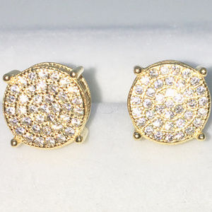 Gold Cylinder All side white CZ Studs Earrings